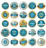 Premium, quality retro vintage golden labels collection — Stock Vector