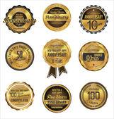 Anniversary golden label collection — Stockvektor
