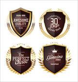 Golden Premium Quality Labels — Vettoriale Stock