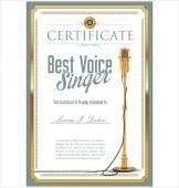 Best singer certificate — Stock Vector
