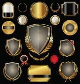 Golden shield, badges, labels and laurels — Stock Vector