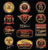Rocznica złoty etykiety — Wektor stockowy