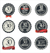 Anniversary retro badges and labels collection — Stok Vektör