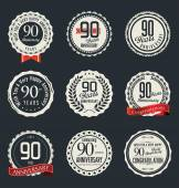 Anniversary retro badges and labels collection — Stock Vector