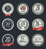 Collezione etichette e distintivi retrò anniversario — Vettoriale Stock