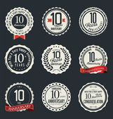 Anniversary retro badges and labels collection — Vector de stock