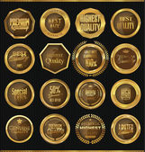 Golden labels collection — Stock Vector