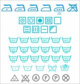 Set of blue Washing signs — Stock Vector