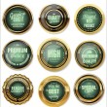 Golden Premium Quality Labels — Stock Vector #66427755