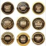 Golden Premium Quality Labels — Stock Vector #66427757