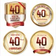 Anniversary golden labels collection — Stock Vector #67991037