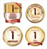 Verjaardag gouden labels-collectie — Stockvector