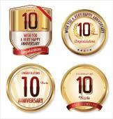 Anniversary golden labels collection — Vecteur