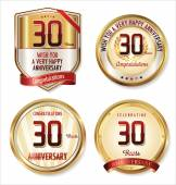 Anniversary golden labels collection — Stock Vector
