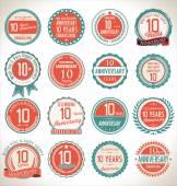 Anniversary retro labels — Stock Vector