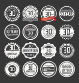 Anniversary retro badges collection — Stock Vector