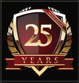 Anniversary golden shield 25 years — Stock Vector