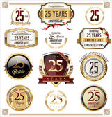 Anniversary golden labels and badges — Stock vektor