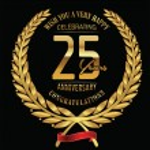 Anniversary golden laurel wreath 25 years — Stock Vector #81955504