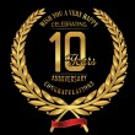 Anniversary golden laurel wreath 10 years — Stock Vector #81955506