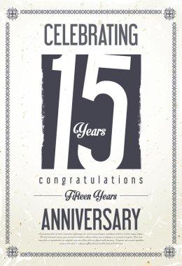 Anniversary retro background 15 years
