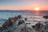 Red sunset on Mykonos one — Foto Stock