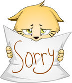 Cute Kitten Holds Sign Of Apology — Stock Vector
