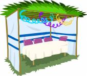 Sukkah For Sukkot With Table 2 — Stock Vector