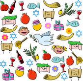 Rosh Hashanah Holidays Symbols Pack — Stock Vector