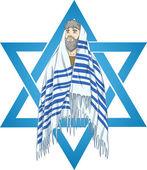 Star Of David Rabbi With Talit — Stock Vector