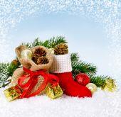圣诞贺卡与圣诞老人的引导 — 图库照片