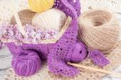 Yarn for crochet and knitted openwork napkins — Stock Photo