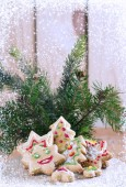 Christmas cookies with spruce branches and snow — Stock Photo