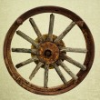 Cart Wheel made of wood vintage background — Stock Photo #52281763
