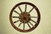 Cart Wheel made of wood vintage background — Stock Photo