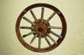 Cart Wheel made of wood vintage background  — Stock Photo