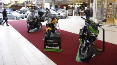 Local auto-moto exhibition — Stock Video