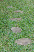 Stone walkway on green grass — Stock Photo