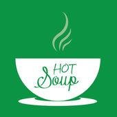 Varm soppa i en skål. Vektor Illustration — Stockvektor