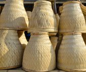 Thai Handmade Bamboo basketwork for Sticky Rice Steaming — Stock Photo