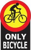 自転車が通り過ぎるだけ許可記号ラベル — ストックベクタ