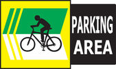 Parking Area Bicycle Sign Label — Stock Vector