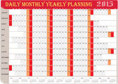 Daily Monthly Yearly Planning Chart 2015 — Stock Vector