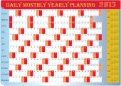 Daily Monthly Yearly 2015 Calendar Planning Chart — Stock Vector