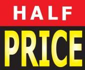 Half Price Promotion Label — Stock Vector