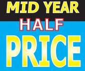 Mid Year Half Price Promotion Label — Stock Vector