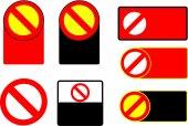 Set of Forbidden Sign Symbol Zone Blank Vector — Stock Vector