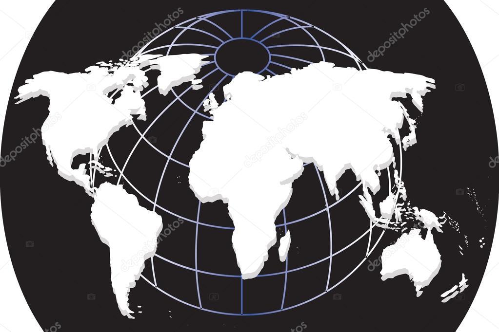 在黑色背景上的世界地图欧式纯白