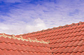 Tiled Roof with Fluffy Cloud Blue Sky — Stock Photo