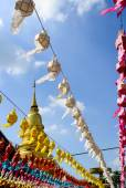 Colorful Hanging Paper Lantern and Golden Pagoda in Festival of  — Stockfoto